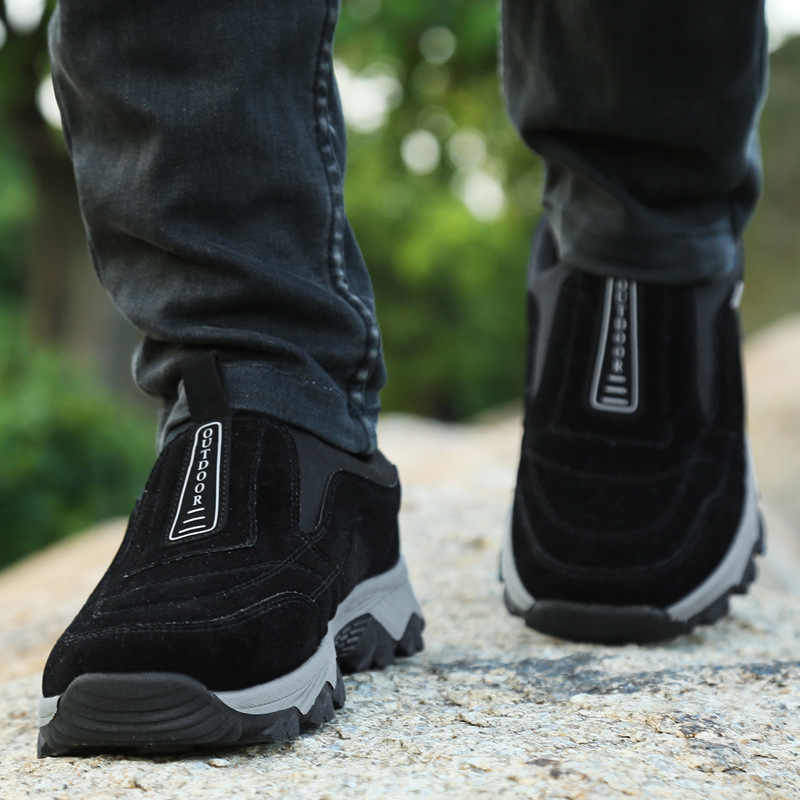 Merkmak 2019 Frühling Herbst Schuhe Atmungsaktiv Bequeme Beiläufige Schuhe Große Größe Flock Slip Auf Turnschuhe Mode Sicherheit Arbeit Schuh