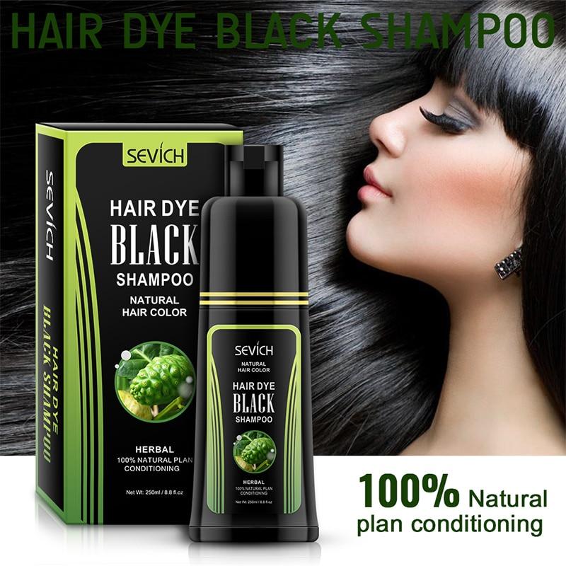 Sevich Herbal 250ml Natural Plant Conditioning Hair Dye Black Shampoo Fast Dye White Grey Hair Removal Dye Coloring Black Hair