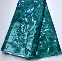 Latest High Quality Swiss Design Nigeria Wedding teal green African dress lace Full Sequins lace Fabric