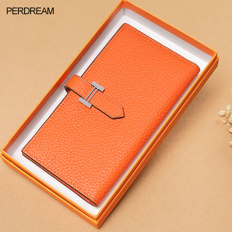 New Long Wallet Women's Leather Drawstrings European And American Ladies Hold Baotou Layer Ultra-thin Wallet