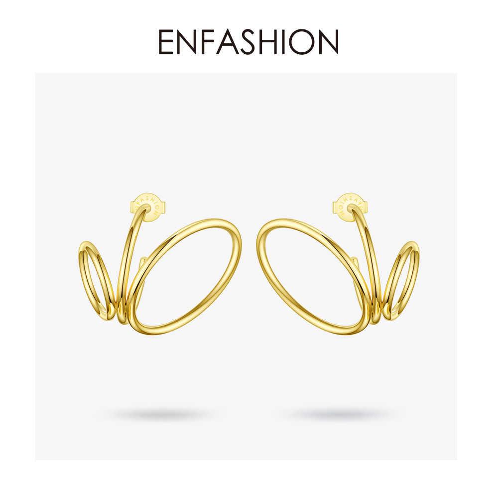 ENFASHION Multi-schicht Kreis Stud Ohrringe Für Frauen Gold Farbe Punk Geometrische Edelstahl Ohrringe Modeschmuck E191116