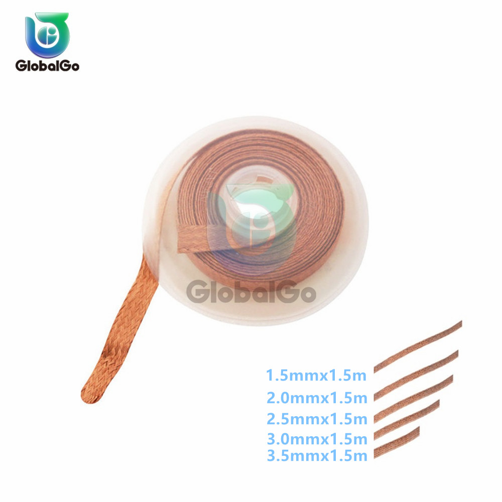 Width 1.5mm 2.0mm 2.5mm 3mm 3.5mm Length 1.5M 2015 Desoldering Braid Solder Remover Wick Wire Repair Tool For BGA Suction Wire
