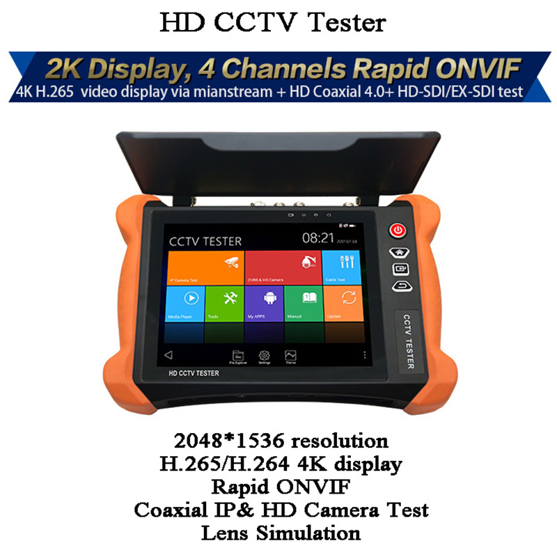 8 Inch CCTV Tester 8MP 3G-SDI PoE TDR UTP Rj45 Cable Test Tracer Rapid ONVIF PTZ Video Surveillance Display Camera Tester