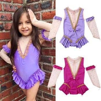Para niños de 2 a 7 años, brillante tul, malla de Ballet, gimnasia para chicas, patinaje de figura, vestido para niños, baile de disfraces, ropa de Yoga