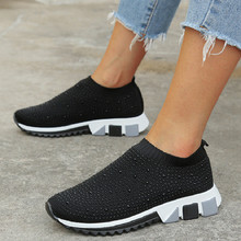 Women Sneakers Flat Black Knitted Sock Casual Shoes Loafers