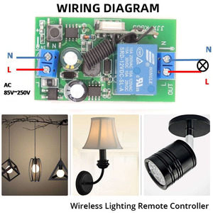 Image 5 - Beleuchtung Wireless Controller AC 85 ~ 250V 10Amp 2200W rf Relais Empfänger Bord und sicherheit rf Sender 4 banden für Birnes Pumpe Fan