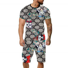 2021 Summer Trend T-Shirt Jumping Candy For Men And Women Couple Magic Rainbow Alphabet Sports Leisure Suit