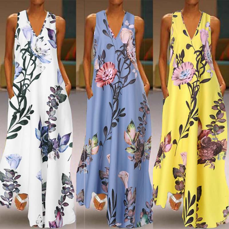 ZANZEA 2019 Fashion Summer Sundress Women Long Maxi Vestidos Floral Printed Bohemian Dress Ladies Casual Pockets Long Tunic Robe