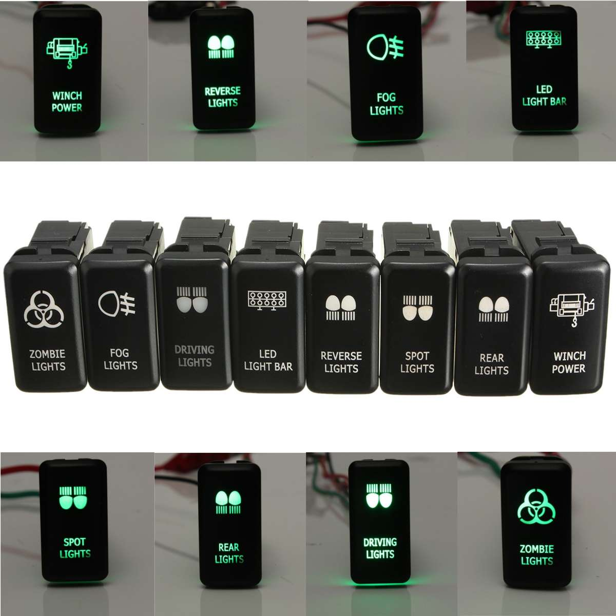 12V สีเขียว LED เปลี่ยน OEM สำหรับ Toyota Landcruiser HILUX Prado 120 SERIES 2003-2009 ไฟ LED light ขับรถ