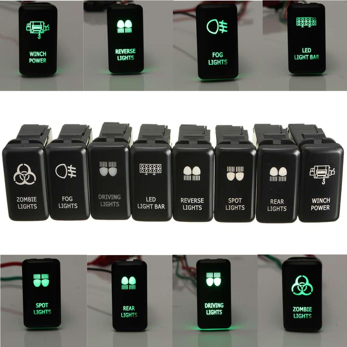 12V Green LED OEM Replacement Push Switch For Toyota Landcruiser Hilux Prado 120 SERIES 2003-2009 Led Light Bar Driving Light