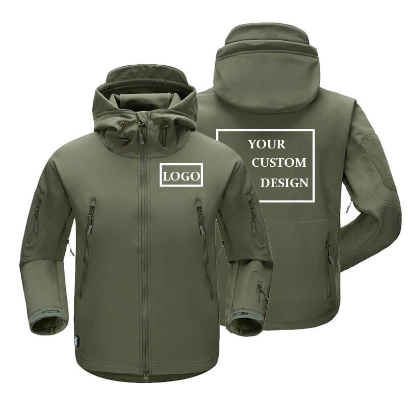 Hommes hiver imperméable coupe-vent vestes épaissir polaire Outwear manteaux Hoodies chaud personnalisé bricolage Design extérieur vêtements XS-3XL