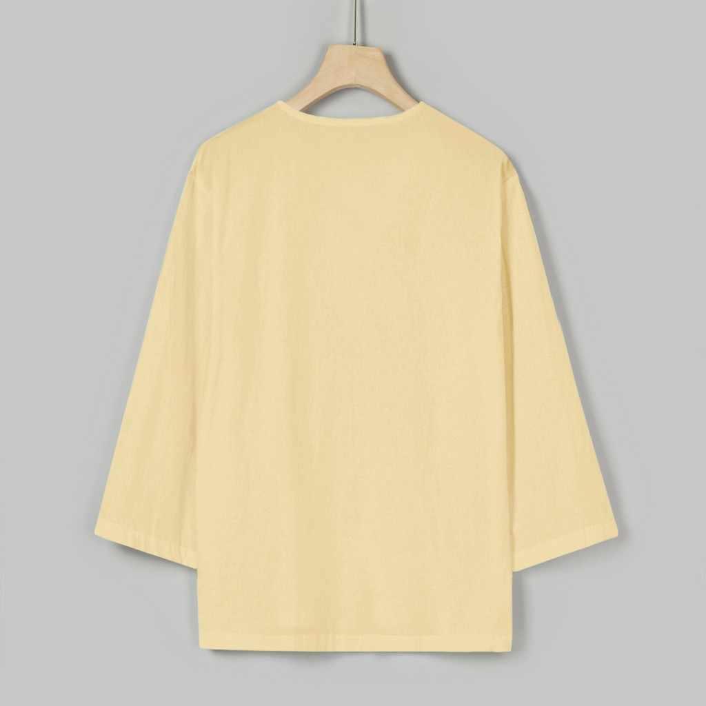 Koszula męska blusa masculina dorywczo luźne 3/4 rękaw, dekolt V koszule mężczyźni mieszanka bawełny męskie bluzki topy streetwear camisa masculina