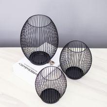 1pc oco ferro castiçal lanterna formas geométricas centro de mesa mesa de café preto sala estar decoração casa presente