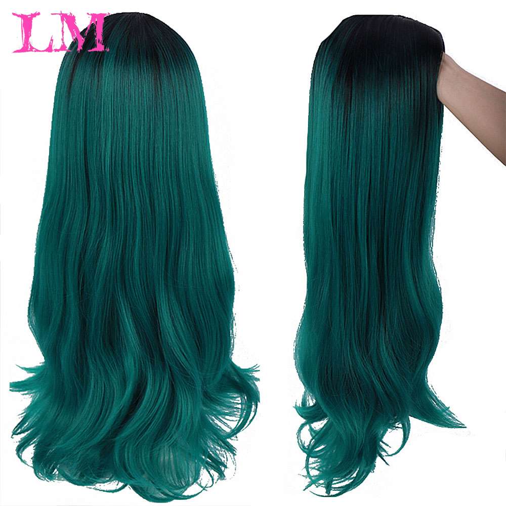 LiangMo Afro Long Ombre Black Green Cosplay Lolita Wig No Bangs High Temperature Fiber Synthetic Pink Hair Extension Wigs For Wo