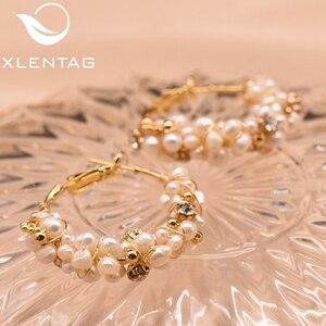 Image 4 - XlentAg 100% Natural Fresh Water Pearl Hoop Earrings For Women Wedding Engagement Handmade Fine Jewelry Aros Mujer Oreja GE0870D