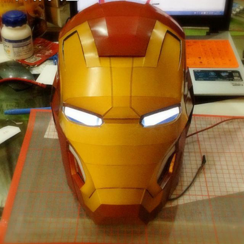 60cm 3d Paper Model Spiderman Iron Man Helmet Wearable Papercraft Action Figures Puzzles Kids Toys Gift Without Kit