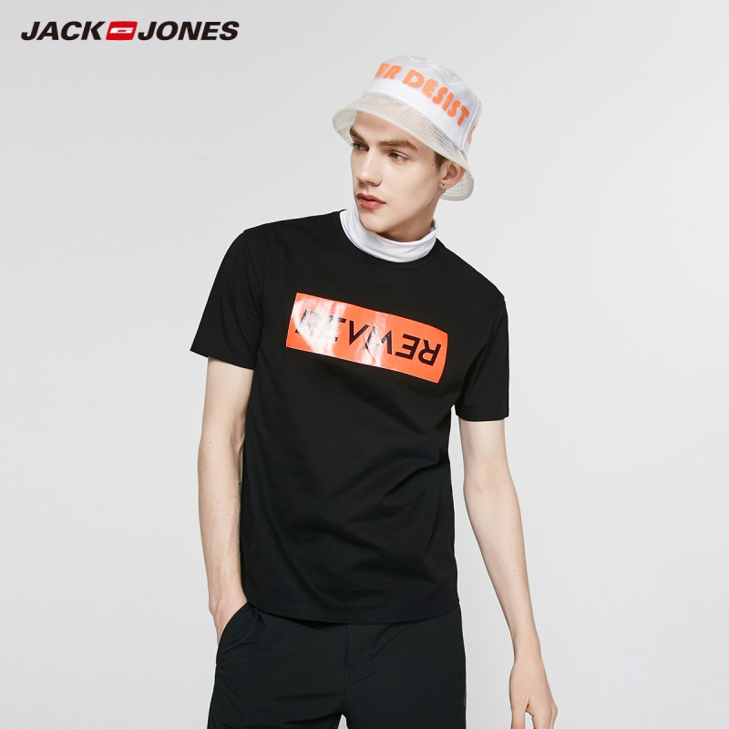 JackJones Men's 100% Cotton Letter Print Round Neckline Style Short-sleeved T-shirt Menswear| 219201549