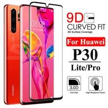 Vidro protetor 9d, para huawei p30 p20 pro p20 p10 lite plus p smart 2019, protetor de tela cheia capa de filme de vidro temperado