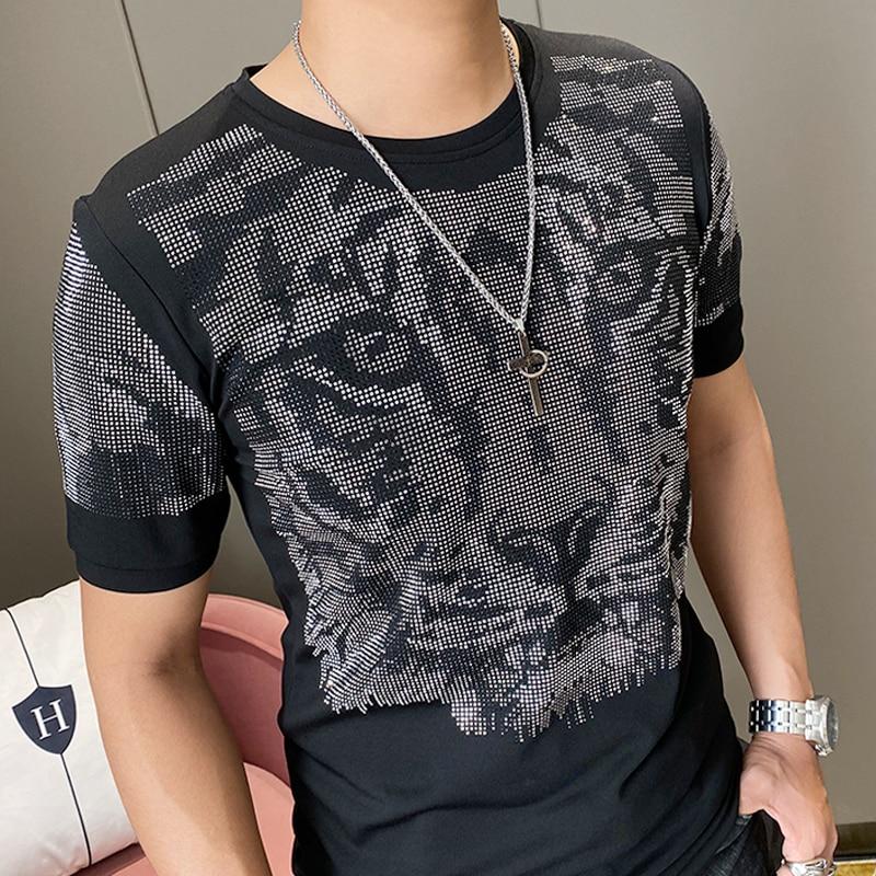 High Quality Summer T Shirt Men Short Sleeve Fashion Diamond Tiger Head T-shirt Mens Streetwear Casual O-Neck Tee Shirt Homme