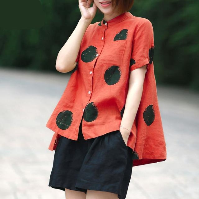 Women Fashion Elegant Casual Look Shirt Female Tops Cute Polka Dot Print Weekend Blouse Summer Single Breasted Shirt and Blouse 4