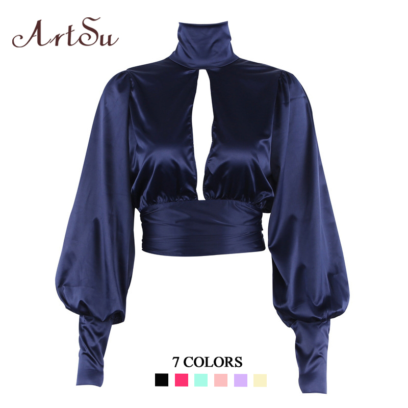 ArtSu Women Sexy Lace Up Bow Satin Blouse Turtleneck Shirt Backless Blouses Blusas Women Puff Sleeve Crop Top Spring ASBL30142