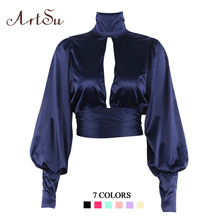ArtSu Women Sexy Lace Up Bow Satin Blouse Turtleneck