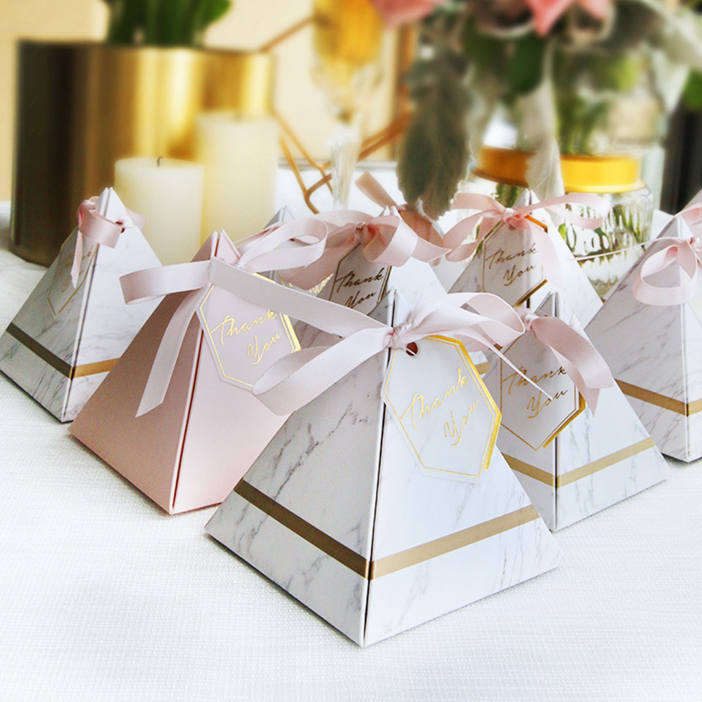 20/50 Pcs Marble Pattern Paperboard Triangular Pyramid Gift Box Chocolate Two-Color Candy Boxes Wedding Birthday Party Supplies