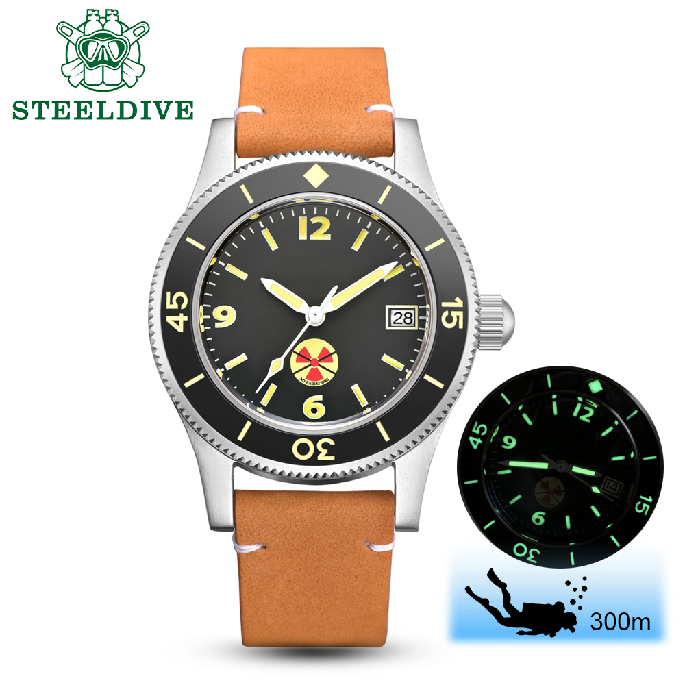 STEELDIVE 1952 China Red NH35 Automatic 300m Diver Watch Mechanical 316L Steel Automatic Watches Men Self Wind 41mm Dive WatchSports Watches   -