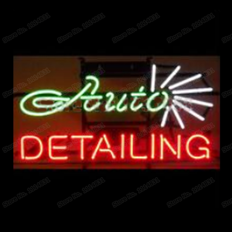 AUTO DETAILING Cars Vehicles Store Neon Sign Handmade Real Glass Tube Advertisement Decoration Display Neon Signs 19X15 image