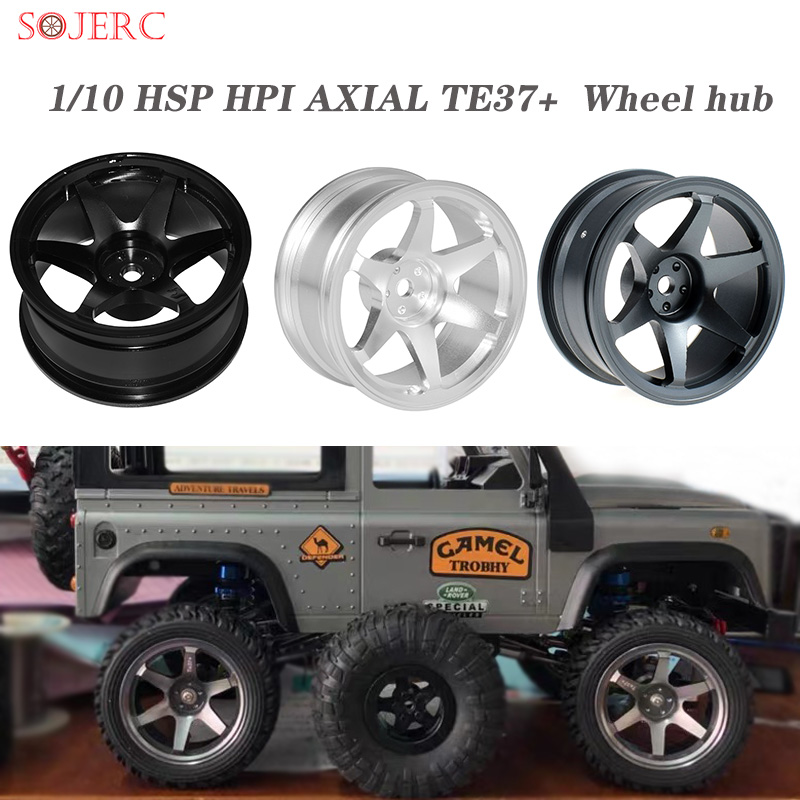 SOJERC 4PCS Metal Alloy Black/Titanium/Silver <font><b>Wheel</b></font> Rim for <font><b>1/10</b></font> HSP HPI AXIAL TE37+ <font><b>RC</b></font> On-road <font><b>Drift</b></font> Car <font><b>Wheel</b></font> hub Parts Oute image