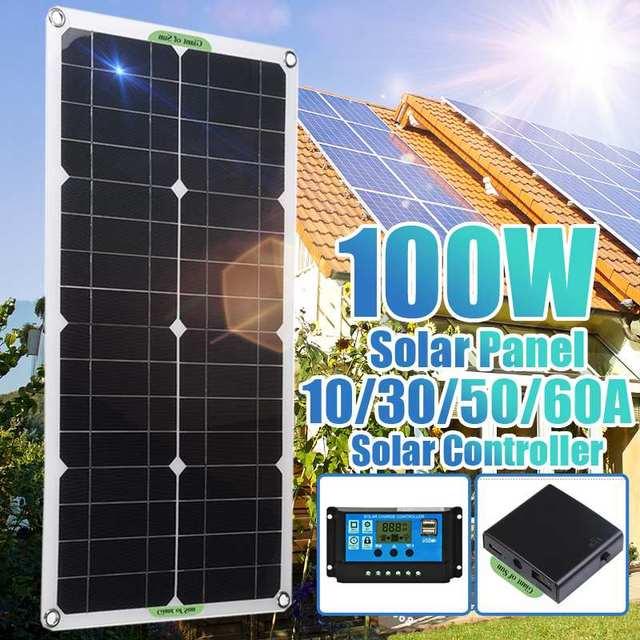 12V 100W GÜNEŞ PANELI kiti komple 10A 30A 50A 60A denetleyici RV kamp araba çadırı tekne pil telefonu USB güneş enerjisi bankası şarj cihazı 12V