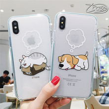 Zcase Super Cute Cat Dog Cartoon Series HD Transparent Phone Case For iPhone 6 7 8 Plus X XS XSMax Silicon Soft Back Cover Capa