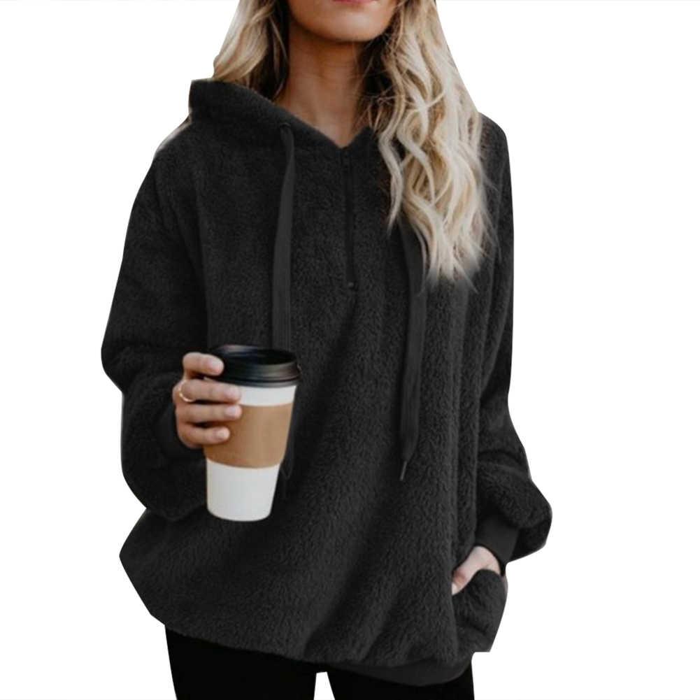 Wipalo ผู้หญิงขนแกะ Hoodies 2019 แขนยาว Hooded Pullover Sweatshirt ฤดูใบไม้ร่วงฤดูหนาว WARM Zipper FUR Coat PLUS ขนาด 5XL