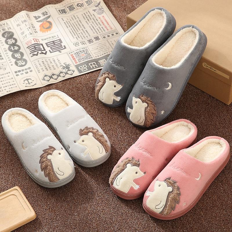 Ladies Cartoon Hedgehog Plush Slippers Indoor Rainbow Stripes Slides Home Warm Furry Cotton Shoes Funny Soft Flip Flops