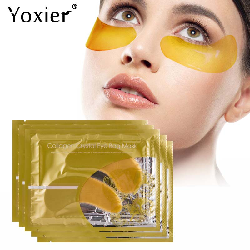 Yoxier 24k Gold Crystal Collagen Eye Mask Dark Circles Anti Aging Moisturizing Eye Bag Colageno Gel Eye Care 10Pcs=5Packs