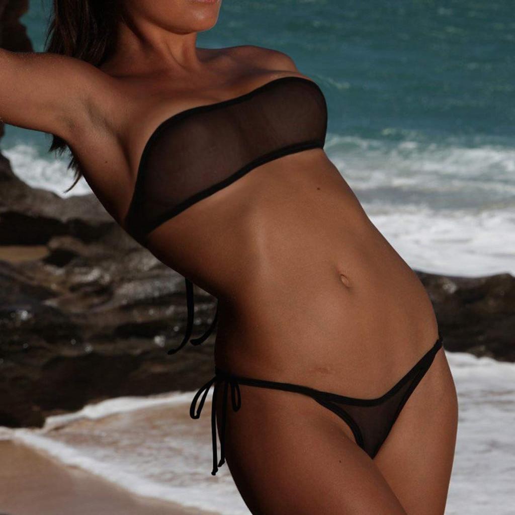 Transparent Swimsuit Bikini-Set Strapless Micro Mini Women Sexy Plus-Size Brazilian