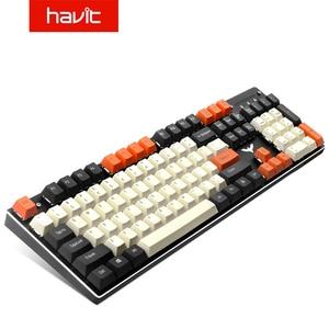 Havit PBT clés casquettes bricolage Gaming clavier mécanique jeu de touches complet pour Cherry MX clavier interrupteur à clé, noir et blanc et Orange