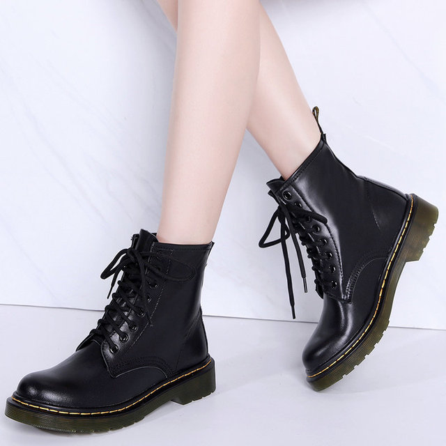 2019 New Women Genuine Leather Boots Winter Women Ankle Boots Waterproof Casual Lace Up Ladies Fashion Shoes Black Botas Mujer