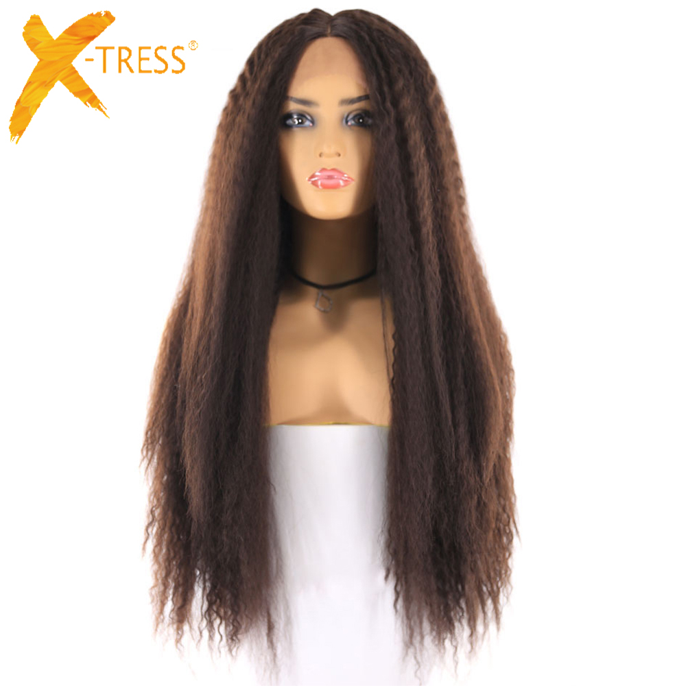Light Brown Swiss Lace Front Wigs For Black Women X-TRESS 26inch Long Kinky Straight Lace Frontal Synthetic Hair Wig Middle Part
