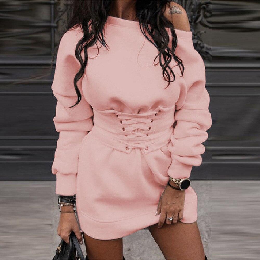 Robe épaisse Hiver femmes col rond à manches longues polaire + ceinture 95