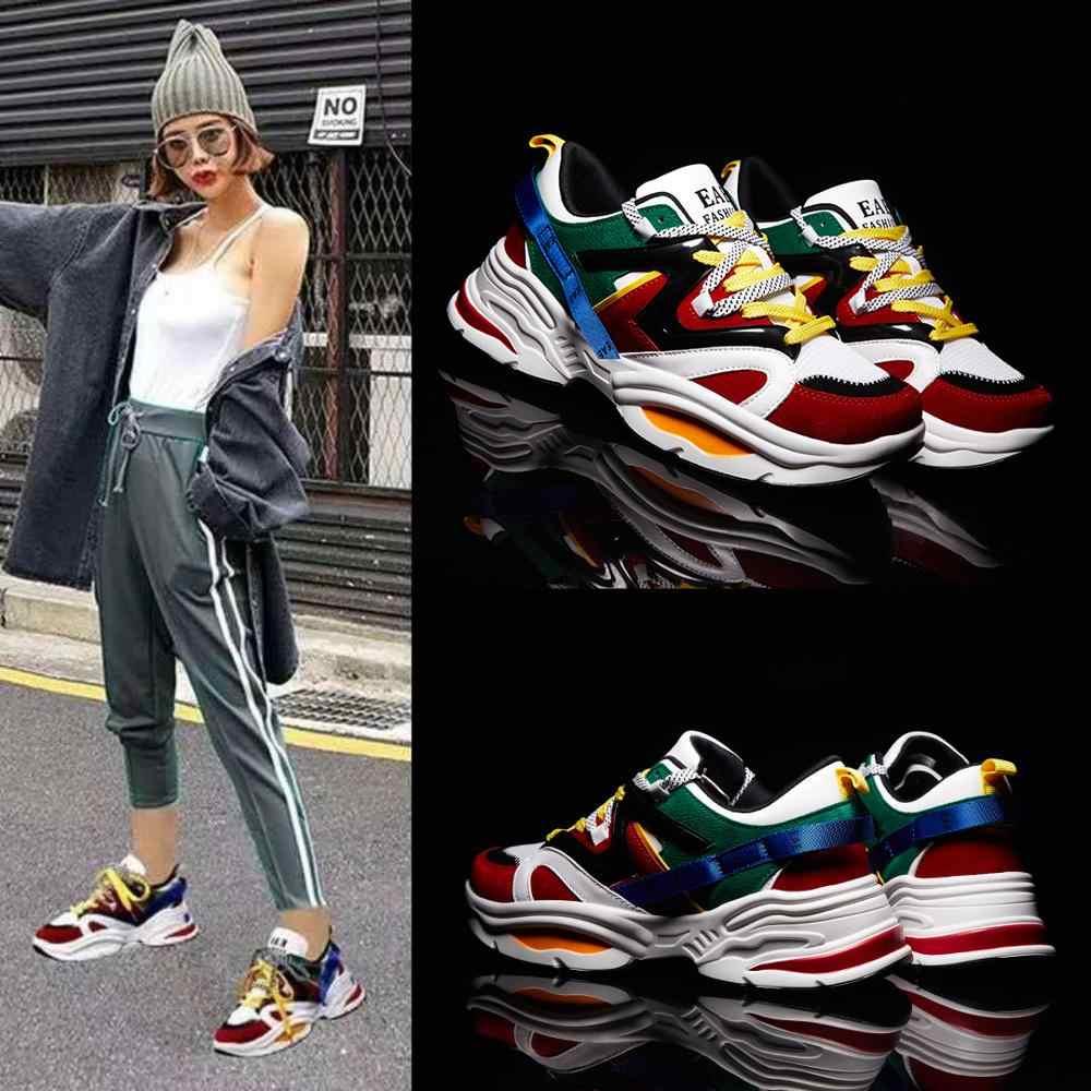 Zapatillas de deporte cómodas de plataforma de alta calidad para mujer, zapatos casuales de aumento de altura para mujer