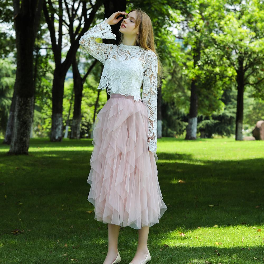 2020 Boho Long Summer Tulle Skirt High Waist Ruffles Women Beach Skirts Pink Jupe Femme Tulle Skirt Saia Midi Faldas