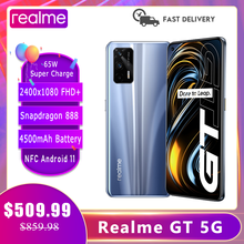 Realme GT 5G inteligentny telefon Snapdragon 888 120Hz 6.43 ''Super AMOLED ekran 3D szklany korpus 4500mAh 65W Super ładowanie NFC Android 11