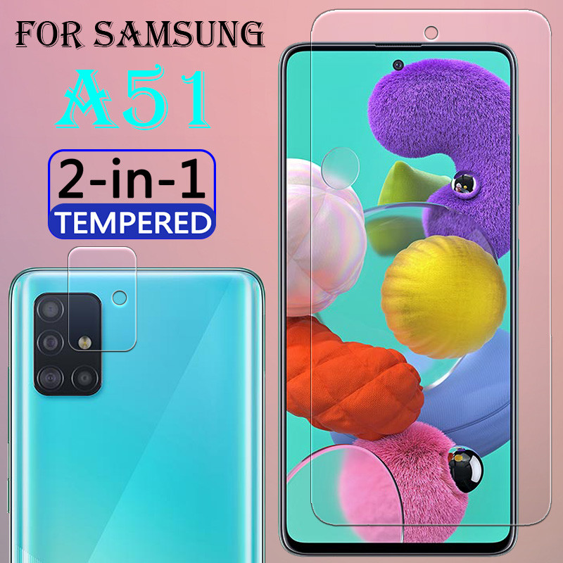 2 In 1 On The For Samsung Galaxy A51 Screen Protector With Camera Lens Tempered Film A 51 Glass SamsungA51 HD Glas Para 6.5 Inch