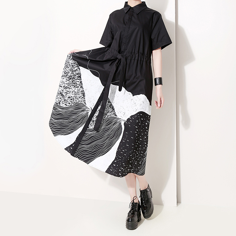 New 2020 Korean Style Women Summer Black Painting Long Shirt Dress With Sash Print Big Size Lady Casual Retro Dresses Robe 5128
