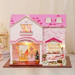 New DIY Doll House 3D Wooden Doll Houses Miniature Dollhouse Furniture Kit Casa with LED Toys for children Christmas Gift
