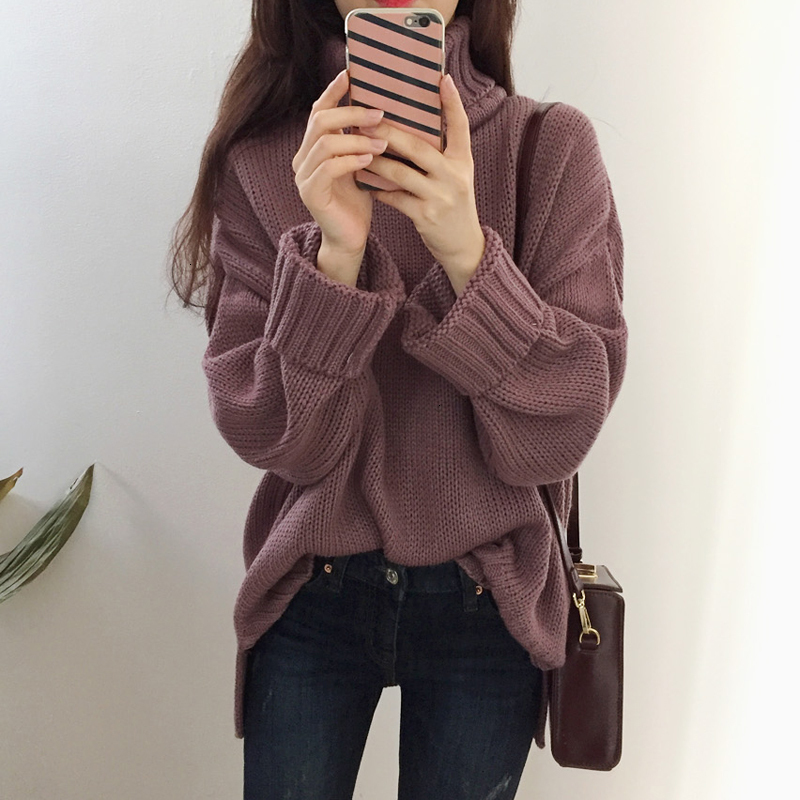 Autumn And Winter New Korean Version The Sweater Thick Casual Student Knitting Sweaters Women Loose Pullover Vestidos