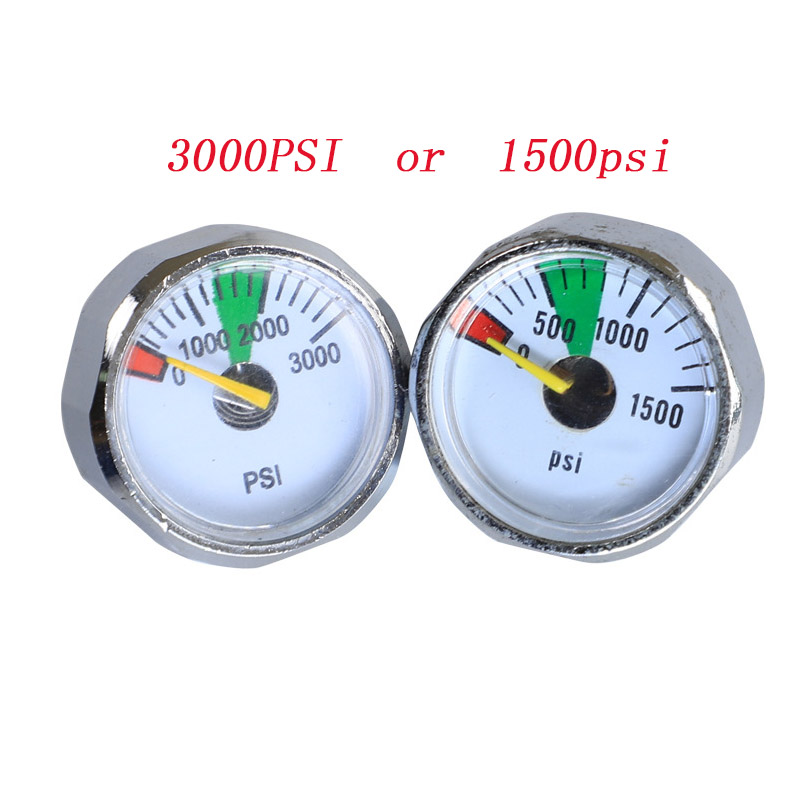 2PCS PCP Paintball Airsoft 5000-1500 Psi Mini Air High Pressure Gauge Manometer 1/8NPT Threads Paintball Tank CO2 Marker