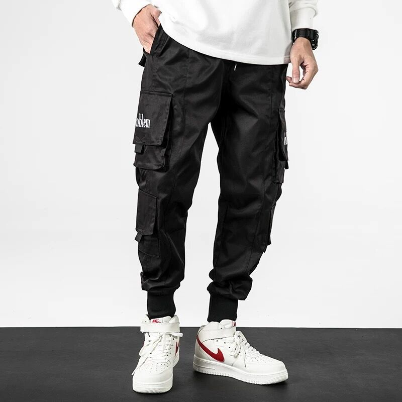 Men Pants Men's Loose-fitting Hip Hop Casual Multi-pocket Drawstring Closure Breeches Men's Cargo Pants