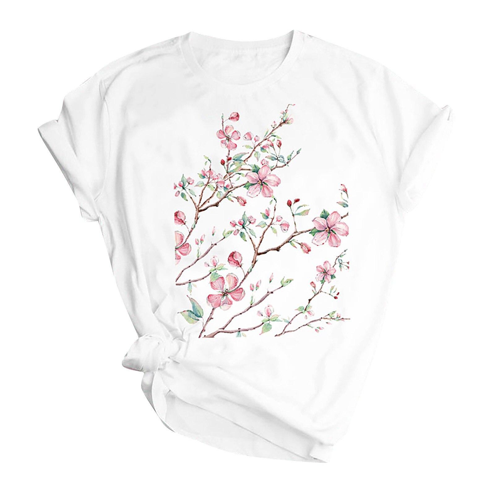 Woman Butterfly Tree Print Harajuku Summer Tshirts Casual Round Neck Short Slee Top Tee Shirt,Drop Ship